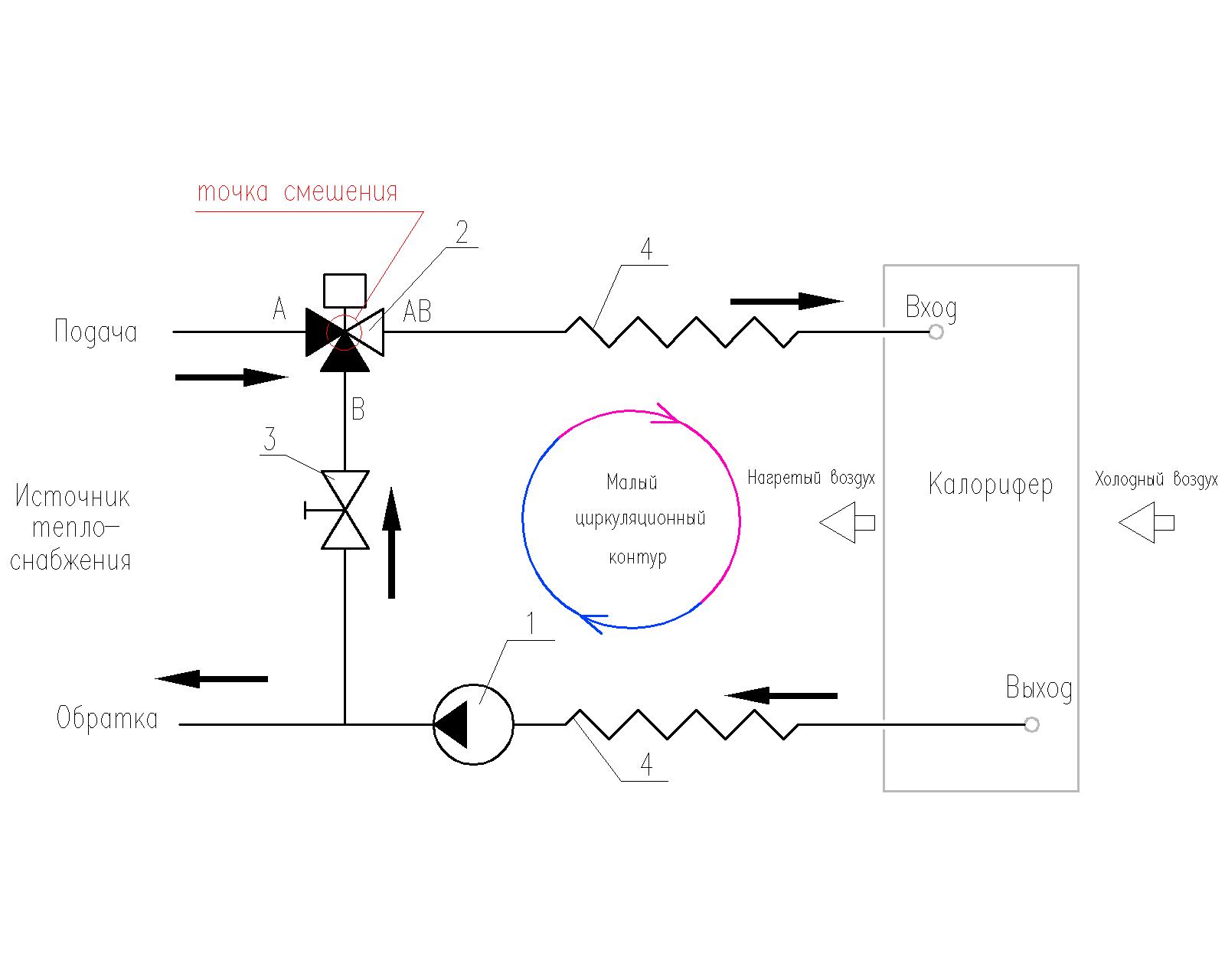 Схема обвязки трехходового клапана фото 715